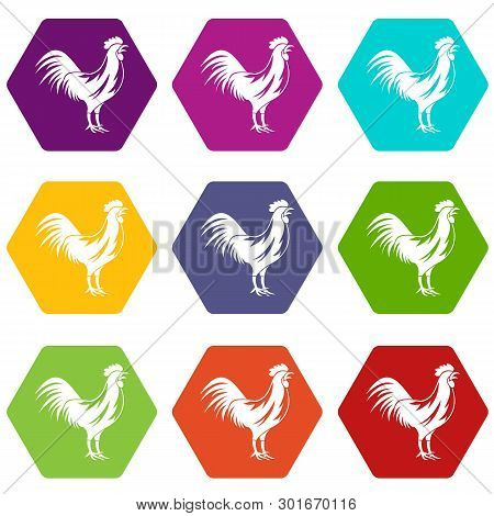 Gallic Rooster Icon Set Many Color Hexahedron Isolated On White Illustration