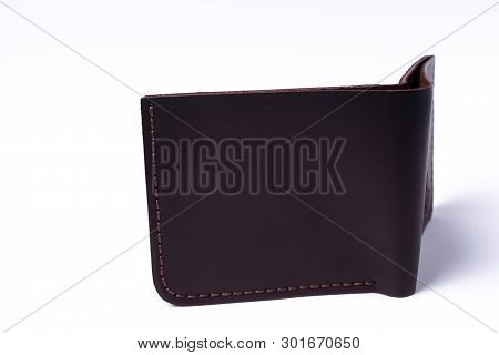 Brown Handmade Leather Man Wallet Isolated On White Background. Wallet Is Open. Stock Photo Of Luxur
