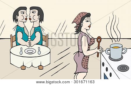 Mother Cooking Kids Vector Photo Free Trial Bigstock