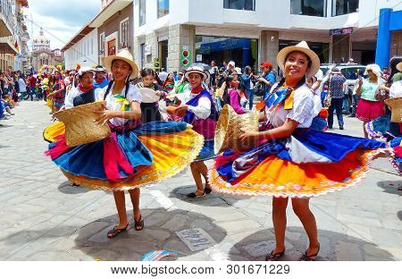 Cuenca, Ecuador-april 11, 2019: Folk Dancers Represent Variety Of Ecuadorian Culture In Traditional