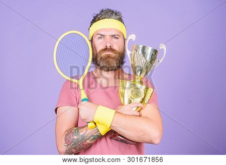 Man Bearded Hipster Wear Sport Outfit. Success And Achievement. Win Every Tennis Match I Take Part I
