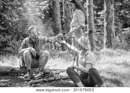 Take A Break To Have Snack. Hikers On Picnic. Company Friends Eat Food Snack Nature Background. Comp