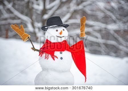 Cute Snowmen Standing In Winter Christmas Landscape. The Snowman Is Wearing A Fur Hat And Scarf. Sno