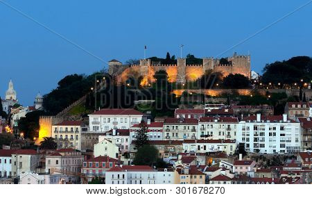 The Castle Of Sao Jorge In Lissabon, Portugal