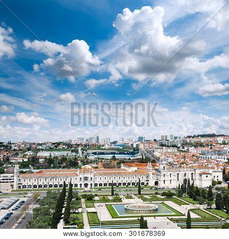 Bird View Over Lisbon With Mosteiro Dos Jeronimos