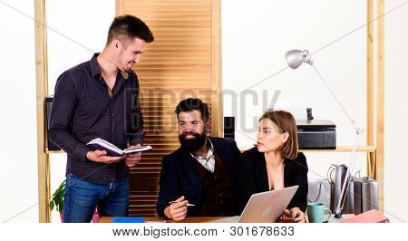 Office Personnel. People Concept. People Making Good Business Discussion In Modern Coworking Office.
