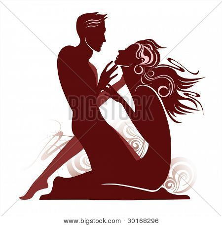 vector image of silhouette the loving woman and man