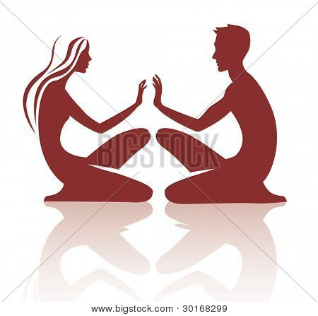 vector image of silhouette the sitting young woman and man