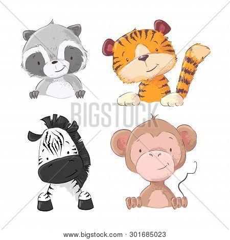 Set Of Zebra Monkey Tiger Cub Raccoon. Cartoon Style. Vector