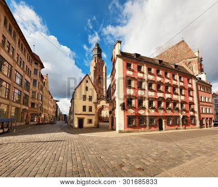 Wroclaw, Poland, Historical Centre. Lookout Tower Of The Church Of The Garrison And Historical House