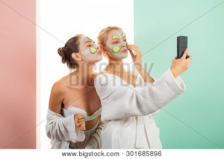 Taking Selfie. Anti Age Care. Skin Care For All Ages. Women Having Fun Skin Mask. Pure Beauty. Beaut