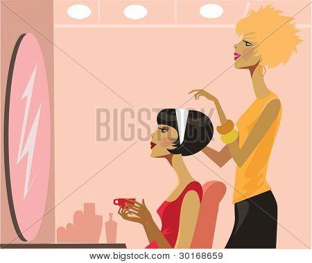 women in a hair salon