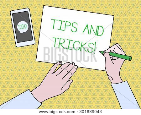 Text Sign Showing Tips And Tricks. Conceptual Photo Means Piece Advice Maybe Suggestion How Improve.
