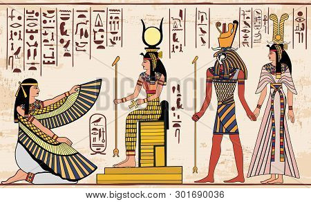 Vector Illustration Of Ancient Egyptian Drawing. Egyptian Gods Ornament Hieroglyphs. - Vector