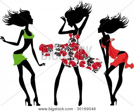 silhouette of a fashion girls