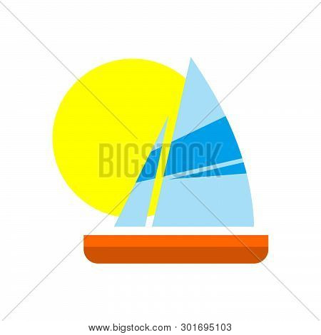 Boat Sign Symbol In Round Web Button. Yacht At Sea In Flat Style. Boat Sailing, Yacht, Sailboat Ship
