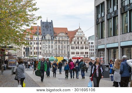 Leipzig, Germany - October 2018: Crowd At Marktplatz, The Market Square In City Centre Of Leipzig In