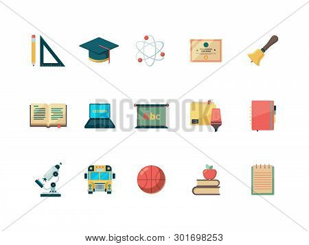 Education Flat Icon. School Learning College Books Ball And Bag Vector Education Symbols Isolated. I