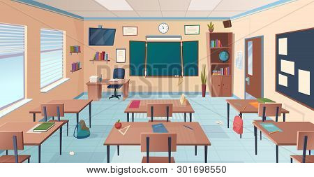 Classroom Interior. School Or College Room With Desks Chalkboard Teacher Items For Lesson Vector Car