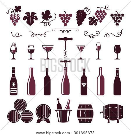 Wine Symbols. Grape Leaves Vine Tendrils Bottles Barrels Corkscrew Vector Stylized Pictures For Labe