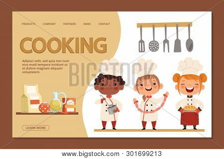 Cute Kids Chefs - Cooking Landing Page Banner Template With Cartoon Character Children And Utensils.