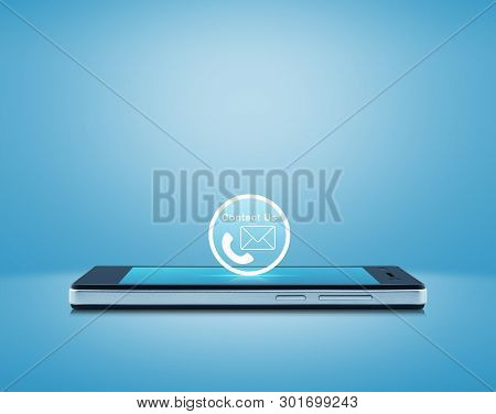 Telephone And Email Flat Icon Button On Modern Smart Mobile Phone Screen Over Gradient Light Blue Ba