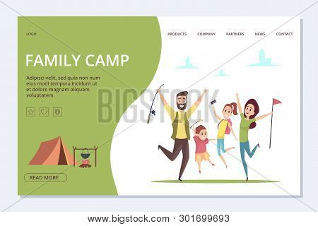Family Camp Landing Page. Vector Happy Cartoon Family, Adventure Time Banner. Illustration Of Page L
