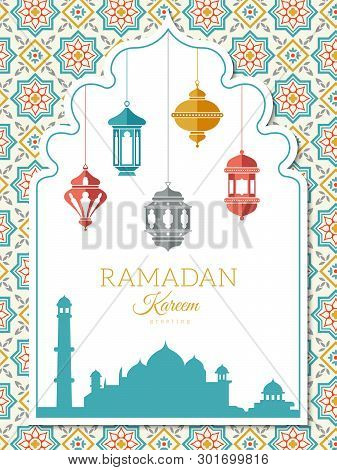Arabic Lamp Background. Ramadan Decoration Banner, Greeting Card Or Invitation To A Celebration With