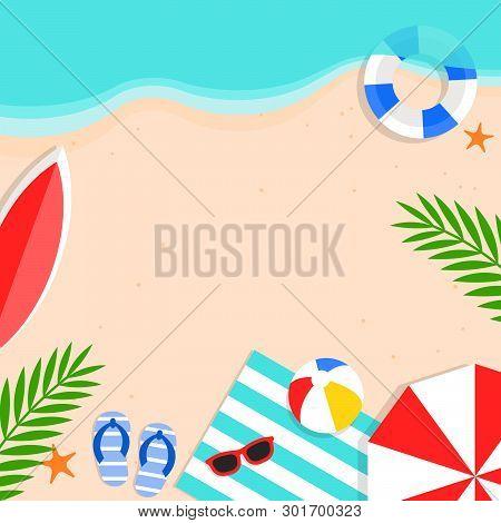 Summer Sale, Summer Beach Background Vector Illustration