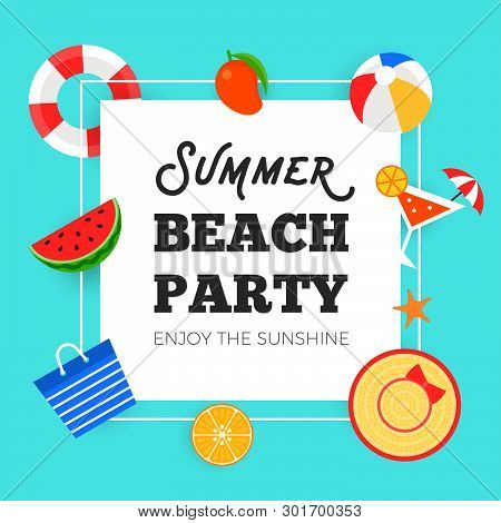 Summer Time, Summer Beach Party Background Vector Illustration