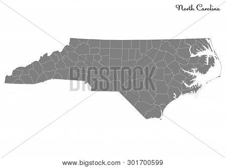 High Quality Map Of North Carolina Is A State Of United States With Borders Of The Counties