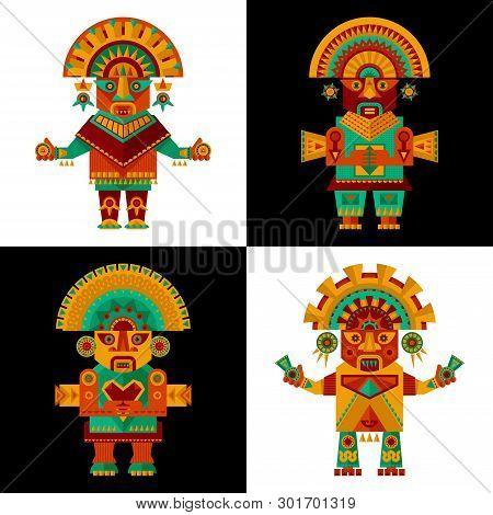Inca Ceremonial Sculptures (ceremonial Knifes. Tumi). Vector Illustration