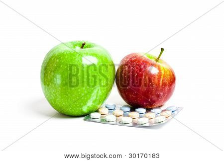 Juicy Green And Red apples And Vitamins