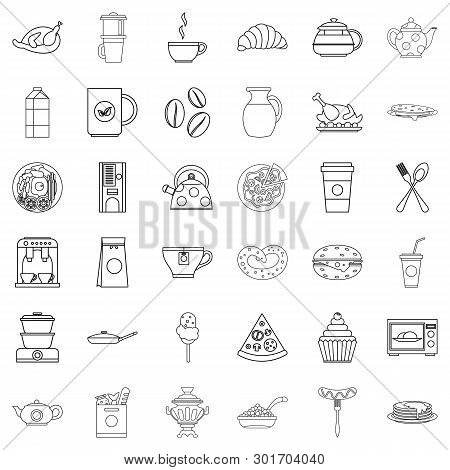 Eatables Icons Set. Outline Set Of 36 Eatables Icons For Web Isolated On White Background