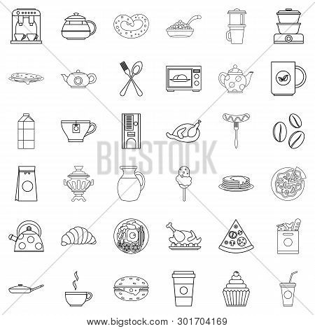 Foodstuffs icons set. Outline set of 36 foodstuffs icons for web isolated on white background poster