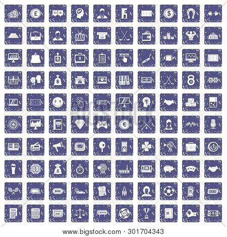 100 Sweepstakes Icons Set In Grunge Style Sapphire Color Isolated On White Background Illustration