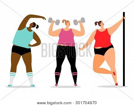 Fitness And Sporty Women Vector Isolated On White Background. Sport Fitness Body And Healthy Sporty