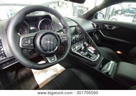 Moscow, Russia - May 1, 2019: Interior Of Black Jaguar F-type R On A Lift At A Land Rover Service Ce