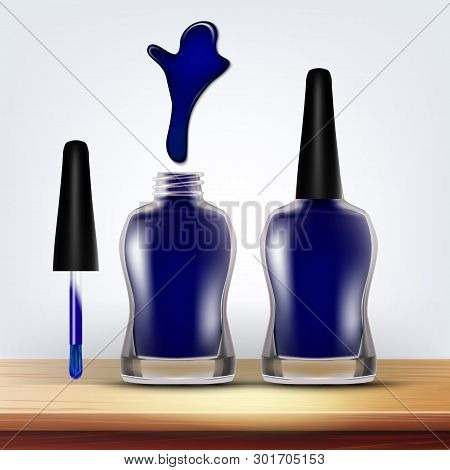 Bottle Of Blue Nail Polish Female Cosmetic Vector. Closeup Closed And Opened Full Glassy Container,