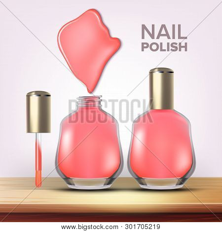 Bottle Of Pink Nail Polish Female Cosmetic Vector. Closeup Closed And Opened Glassy Flask, Colorful