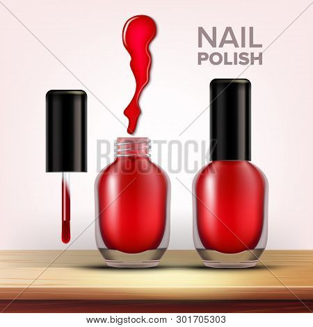 Bottle Of Red Nail Polish Female Cosmetic Vector. Full Closed And Opened Glassy Vial With Black Cap