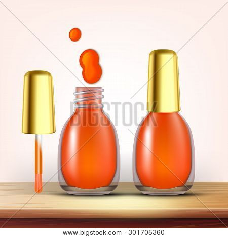 Vial Of Orange Nail Polish Female Cosmetic Vector. Closed And Opened Glassy Flask With Golden Cap An