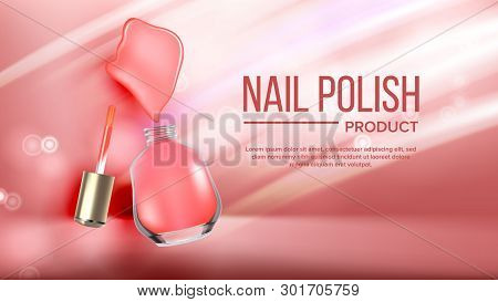 Bottle Of Pink Nail Polish Product Banner Vector. Glassy Flask, Colorful Splash Blot Of Cosmetic Lac