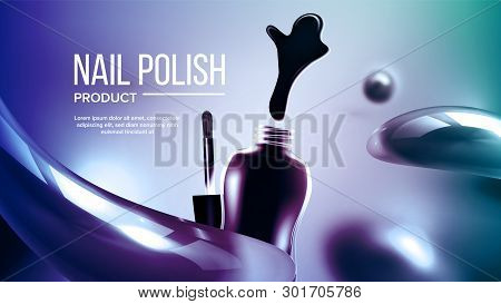 Bottle Of Blue Nail Polish Product Banner Vector. Glassy Container, Splash Blur And Brush Bright Cos