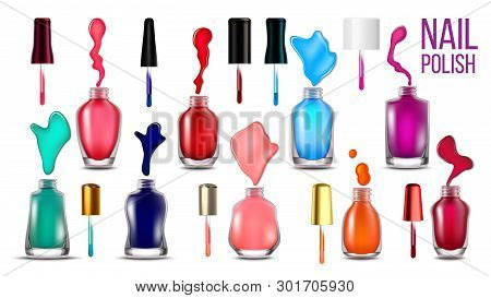 Collection Bottles With Nail Polish Set Vector. Assortment Of Closed And Opened Glassy Flasks, Brigh