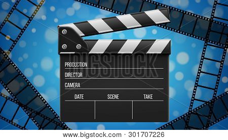 Creative Vector Illustration Of 3d Realistic Movie Clapperboard, Film Clapper Isolated On Transparen