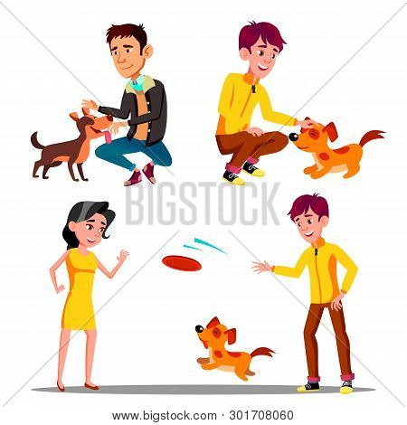 Characters Walking With Domestic Animal Set Vector. Man And Woman Walking, Petting And Playing Frisb