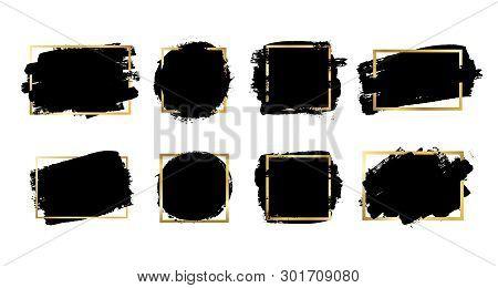 Brush Strokes Set, Gold Text Box, Isolated White Background. Black Paint Brush. Grunge Texture Strok