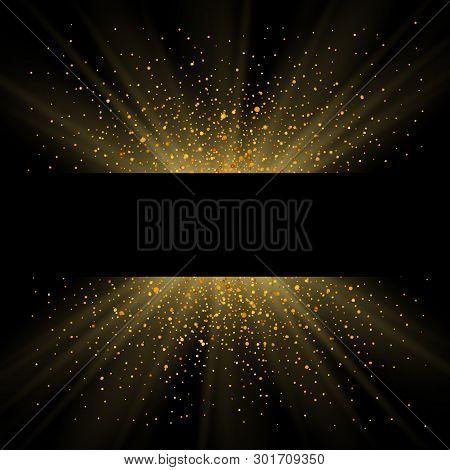 Gold Sparkle Background, Black Frame. Golden Light Glitter Confetti Texture Decoration. Shiny Abstra