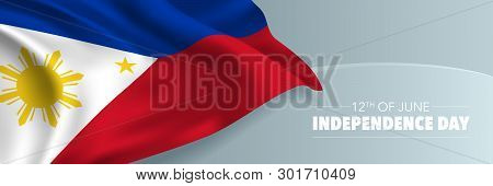 Philippines Happy Independence Day Vector Banner, Greeting Card. Philippine Wavy Flag In 12th Of Jun